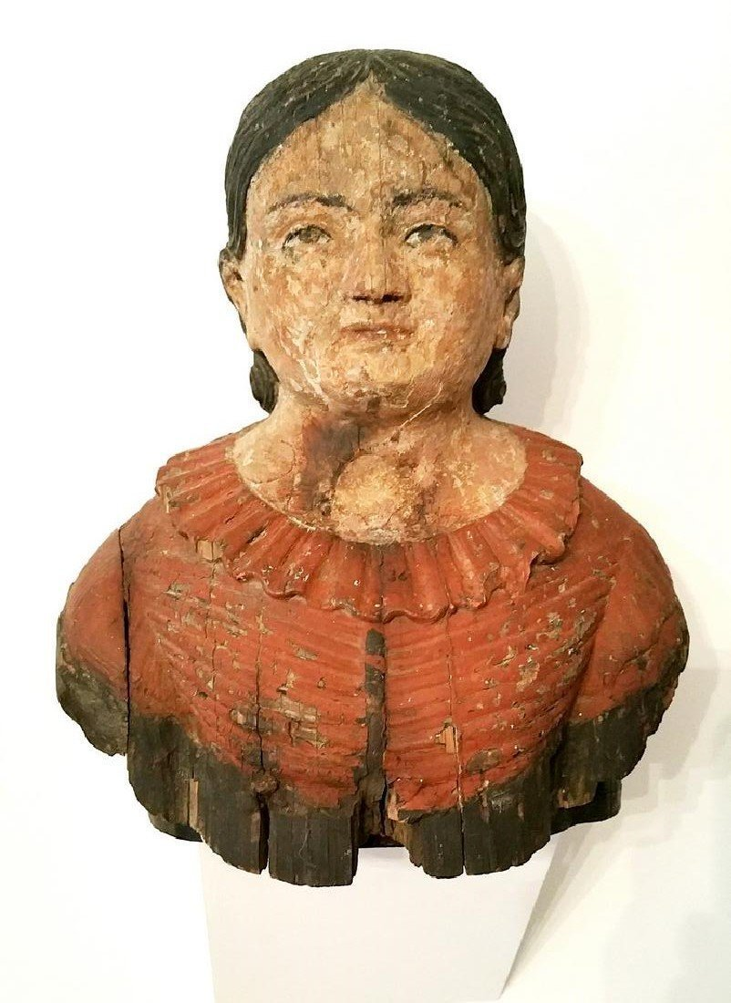 CARVED BOAT FIGUREHEAD OF LADY IN OLD PAINT