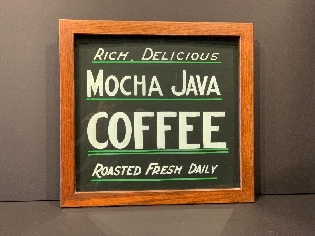 RICH, DELICIOUS MOCHA JAVA COFFEE country store sign,