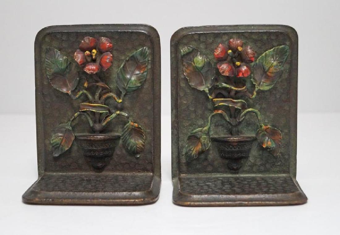 Antique Flower in Pot Cast Bronze Bookends