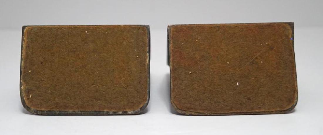 Antique Flower in Pot Cast Bronze Bookends - 2