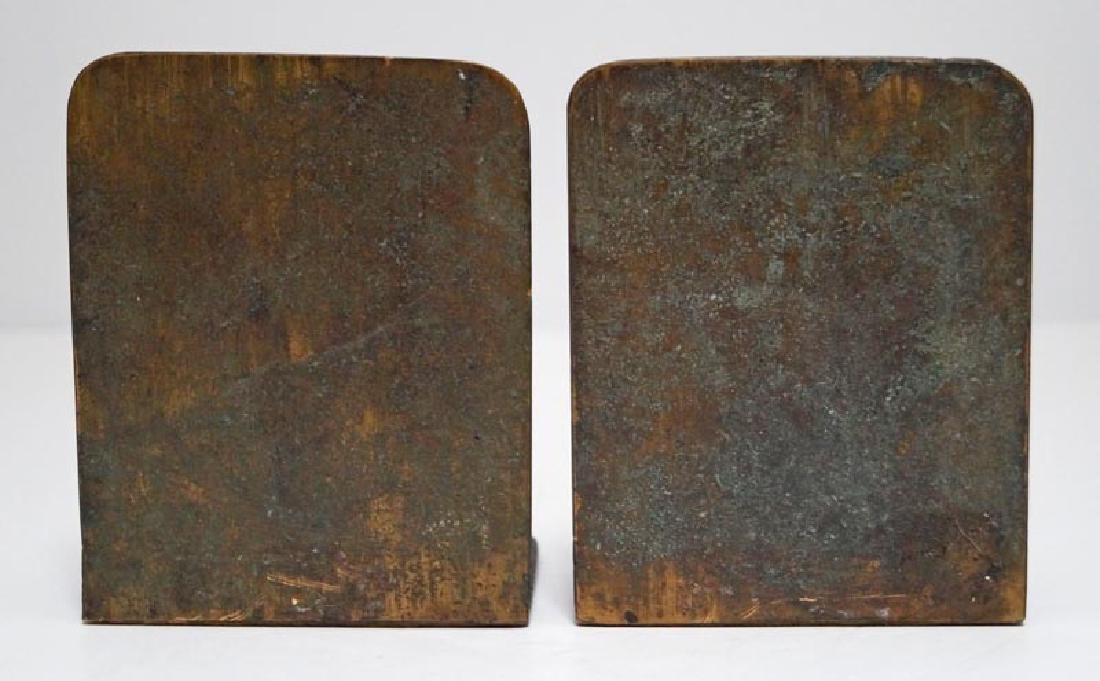 Antique Flower in Pot Cast Bronze Bookends - 3