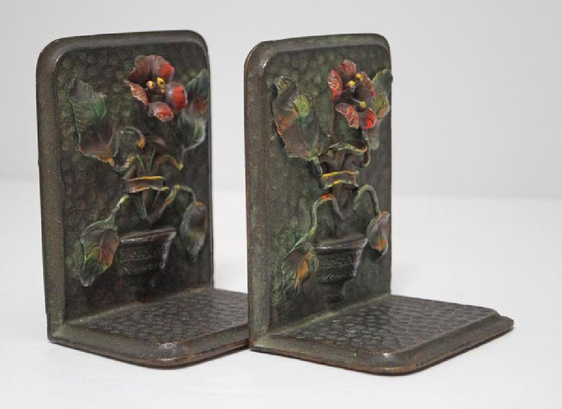Antique Flower in Pot Cast Bronze Bookends - 4