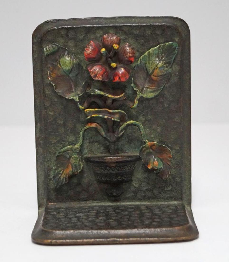 Antique Flower in Pot Cast Bronze Bookends - 5