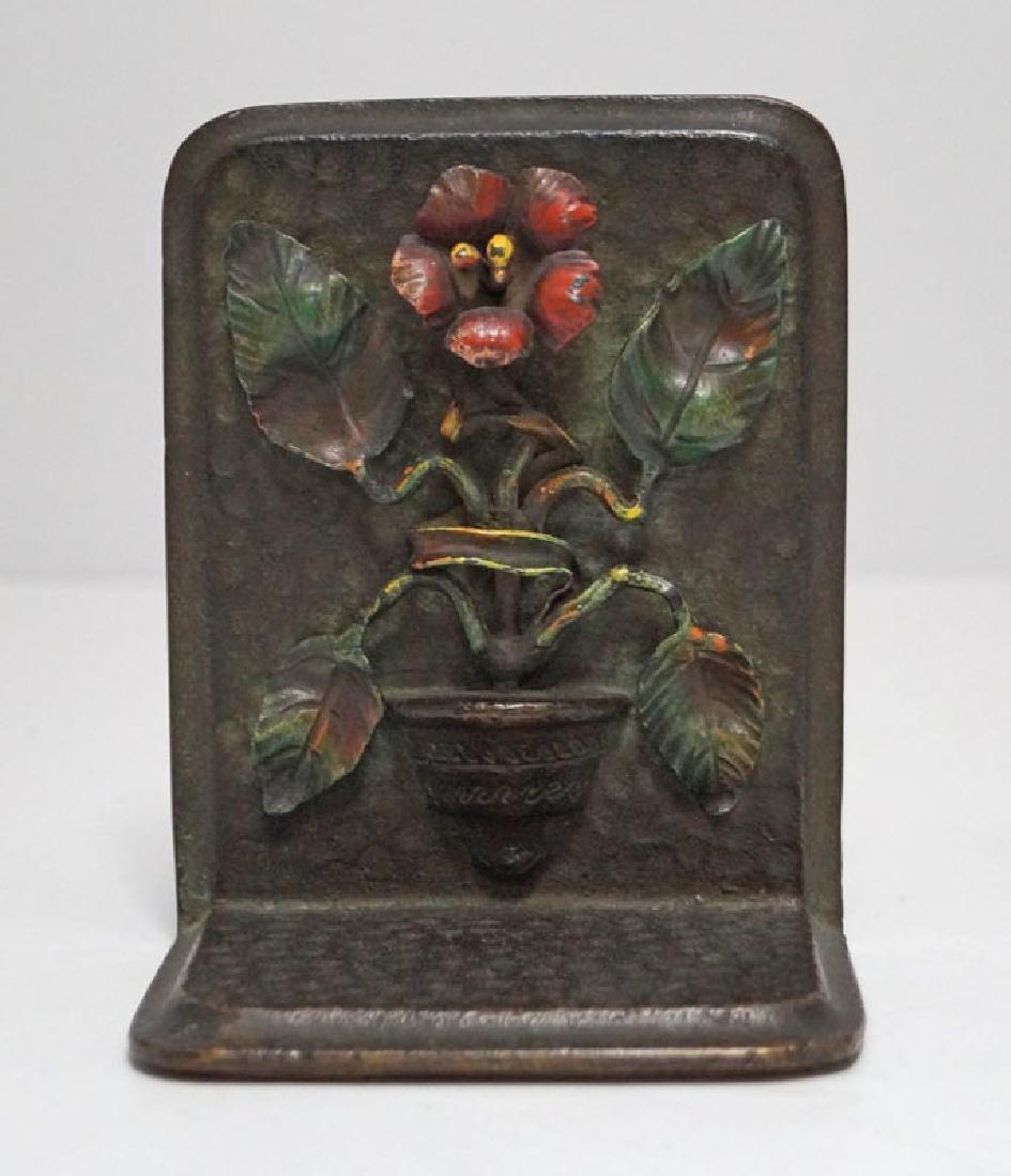 Antique Flower in Pot Cast Bronze Bookends - 6