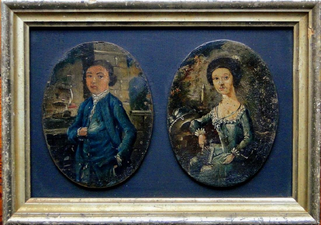 Two oil on copper paintings of Ship Officer and Wife,