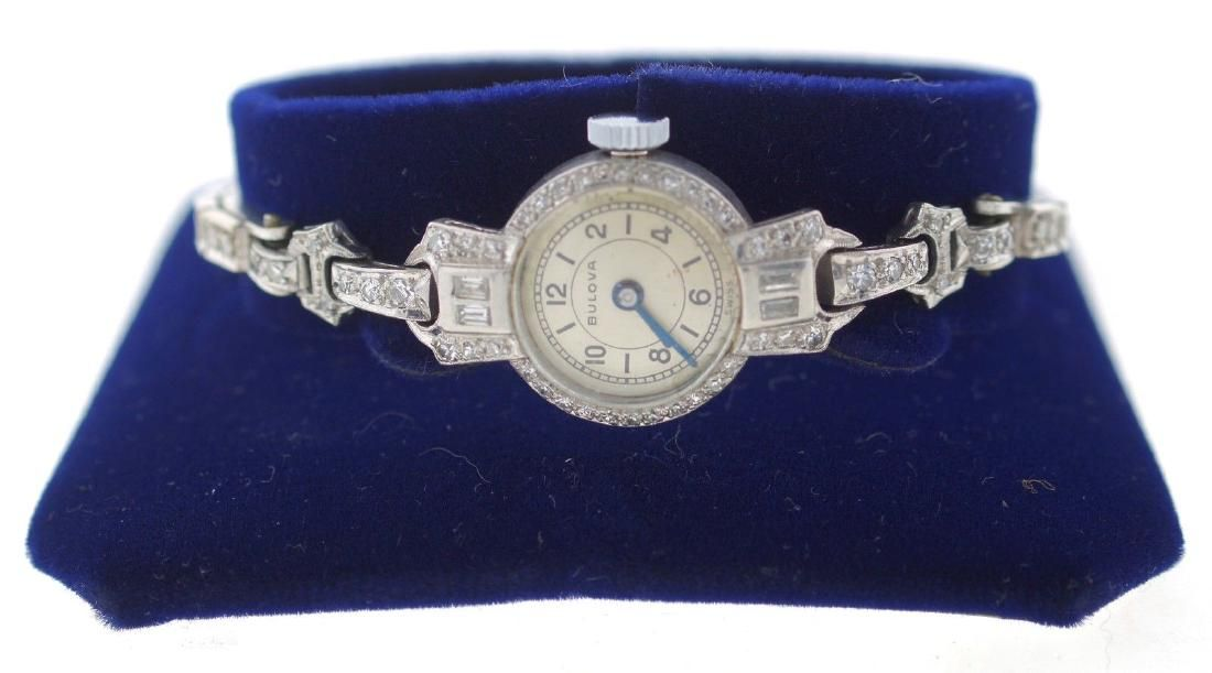 CHIC Bulova Platinum & Single Cut Diamond Watch Circa