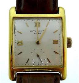 Patek Philippe 18k Yellow Gold Square Face Watch on