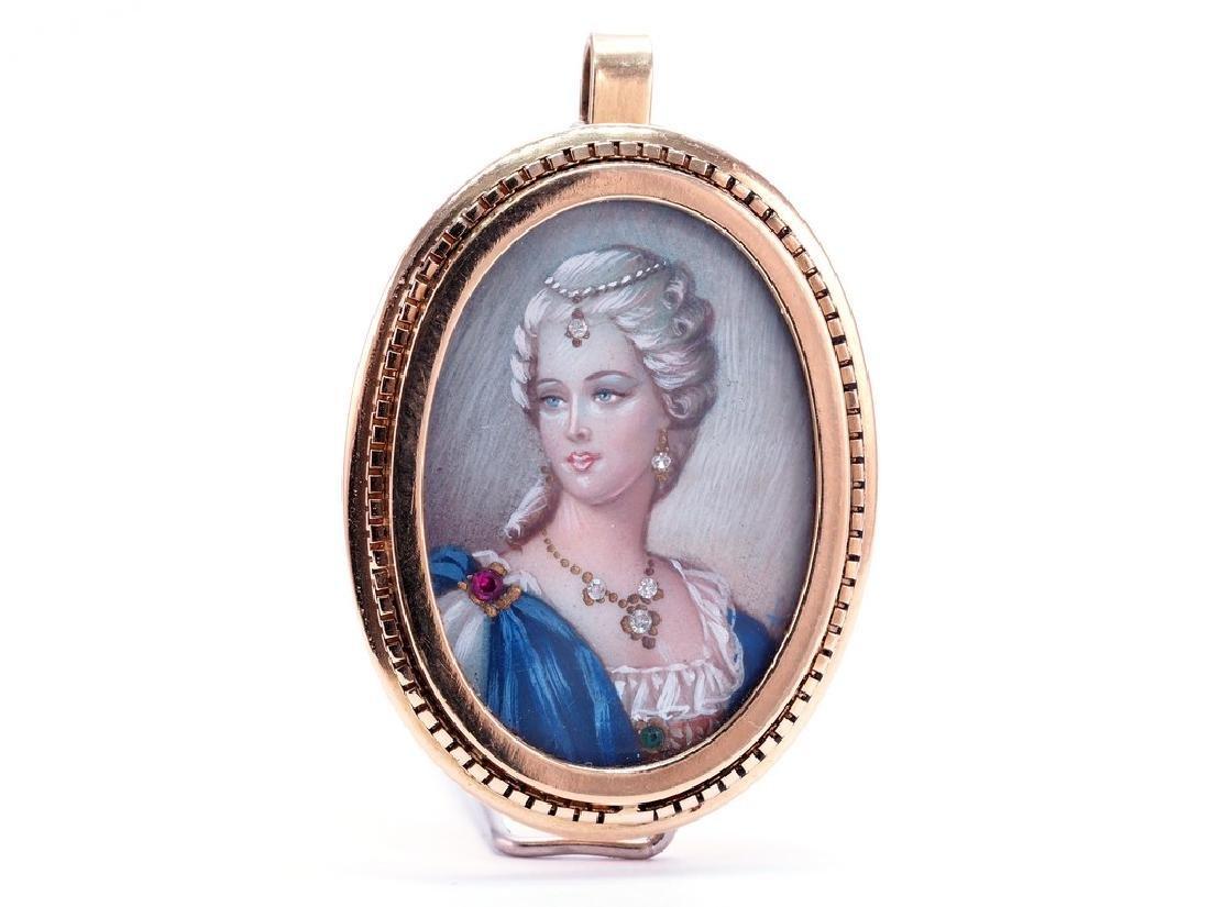 Vintage Handpainted Miniature Portrait Pendant