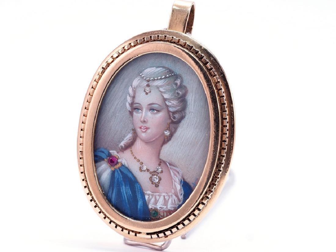 Vintage Handpainted Miniature Portrait Pendant - 3