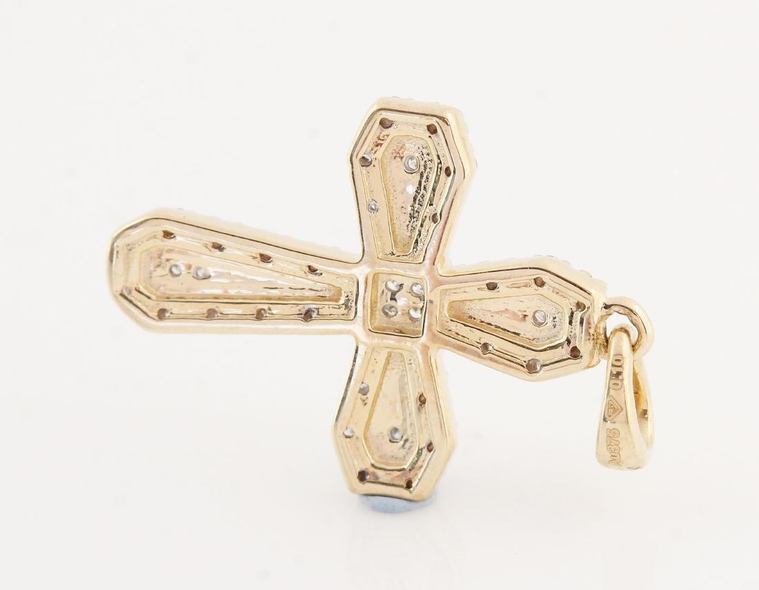 9kt yellow gold diamond cross pendant 0.11ct - 2