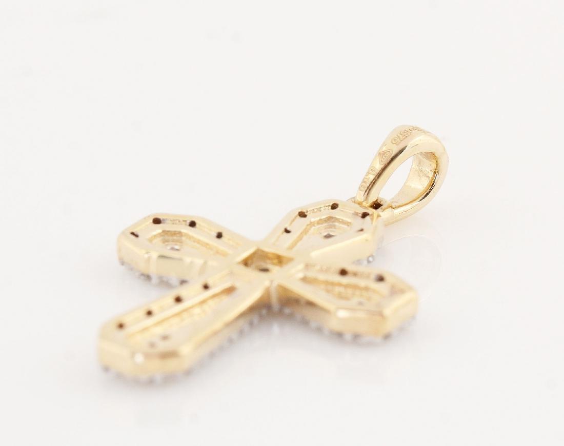 9kt yellow gold diamond cross pendant 0.11ct - 3