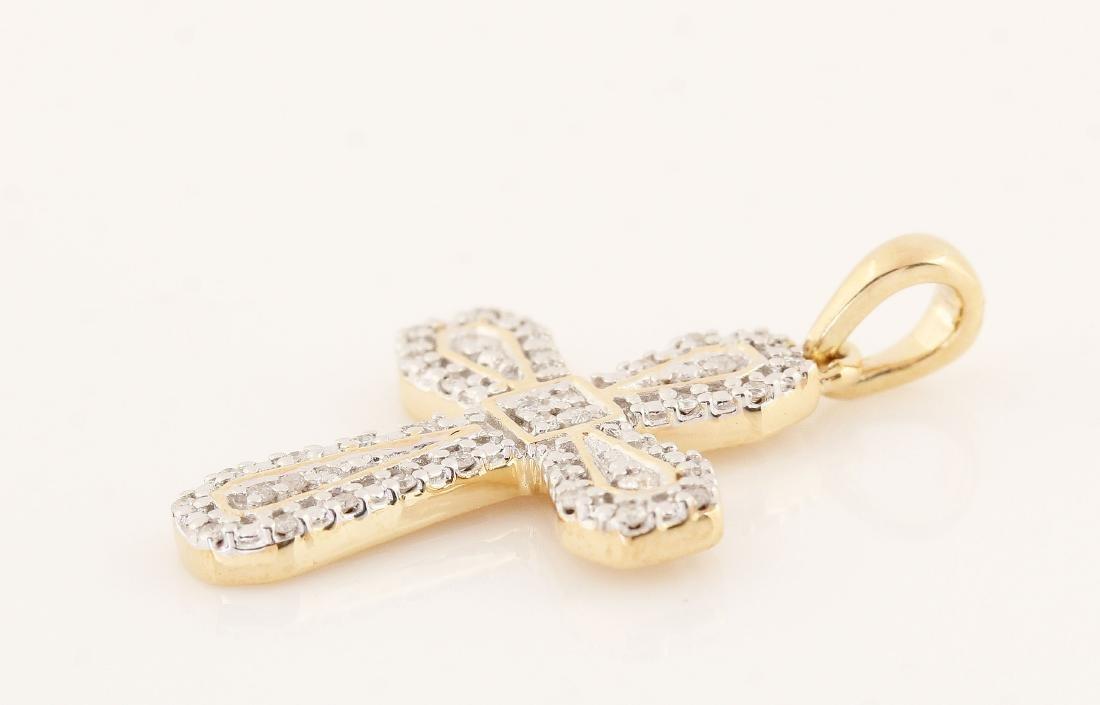 9kt yellow gold diamond cross pendant 0.11ct - 4