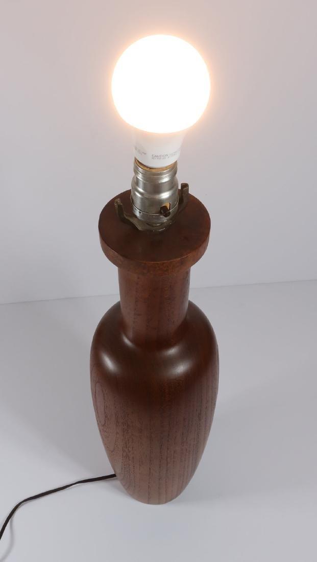 Mid Century Modern Teak Turned Table Lamp - 4