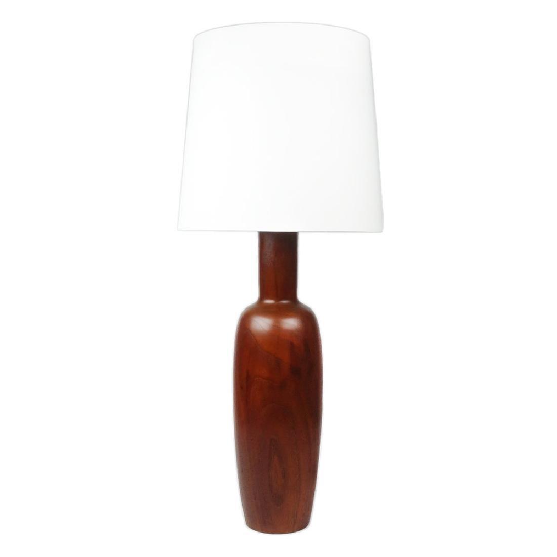 Mid Century Modern Teak Turned Table Lamp - 5
