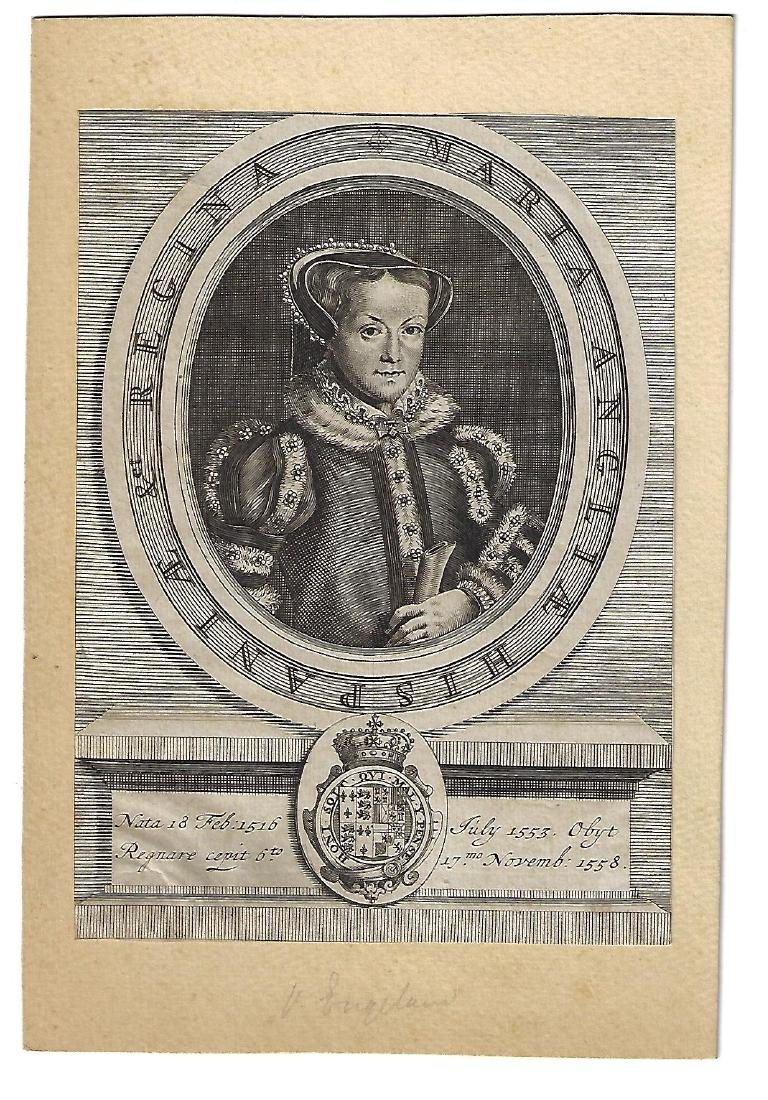 18th C Engraving Queen Mary