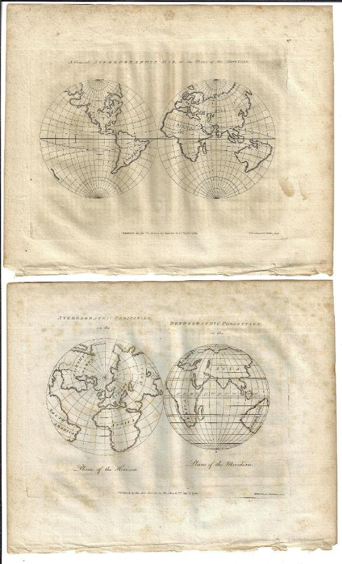 1784 Two Double Hemisphere Maps Projections