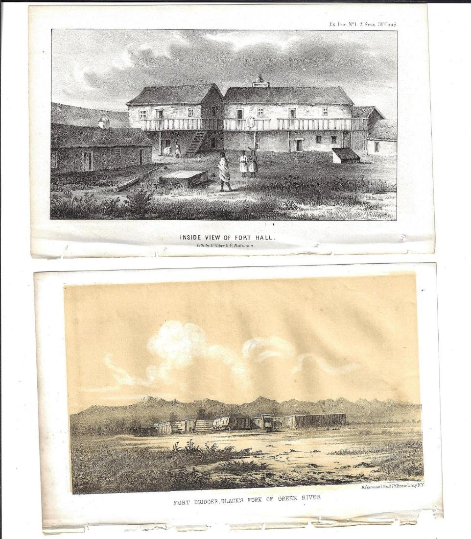 c1860 Three Scenes Forts Western Territories - 2