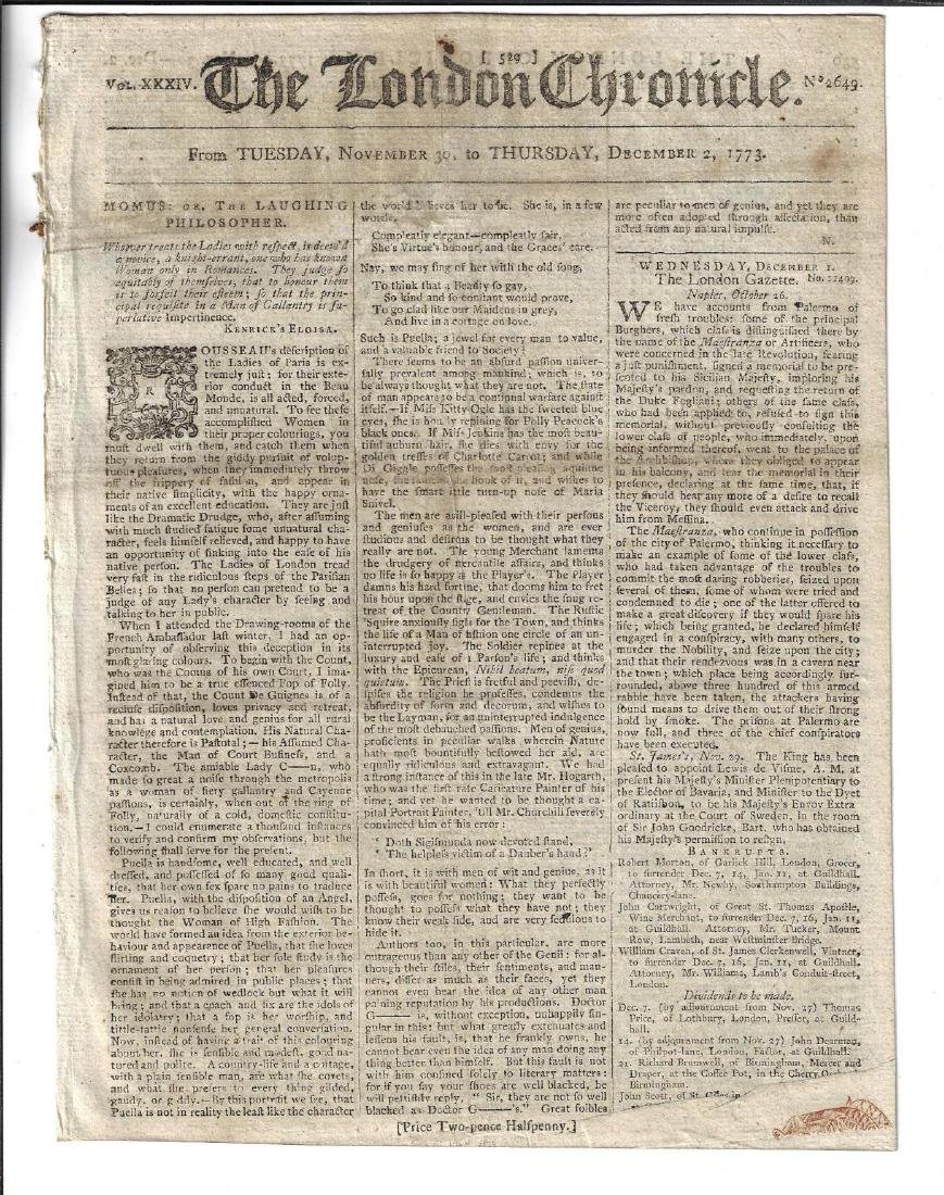 1773 London Chronicle West Florida Georgia
