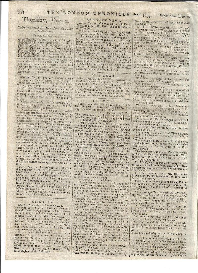1773 London Chronicle West Florida Georgia - 2