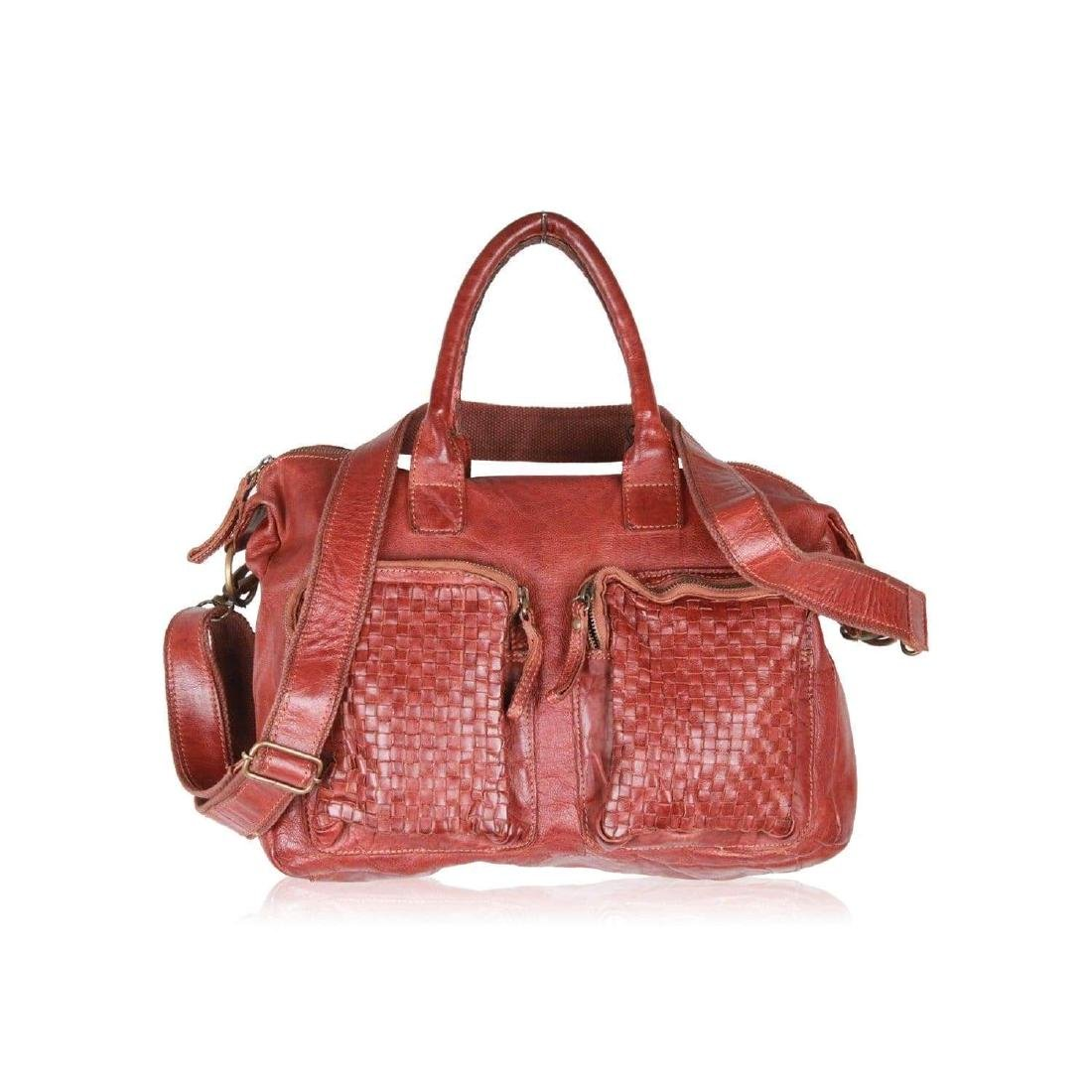 COWBOYSBAG Brown Leather THE BAG Satchel with WOVEN