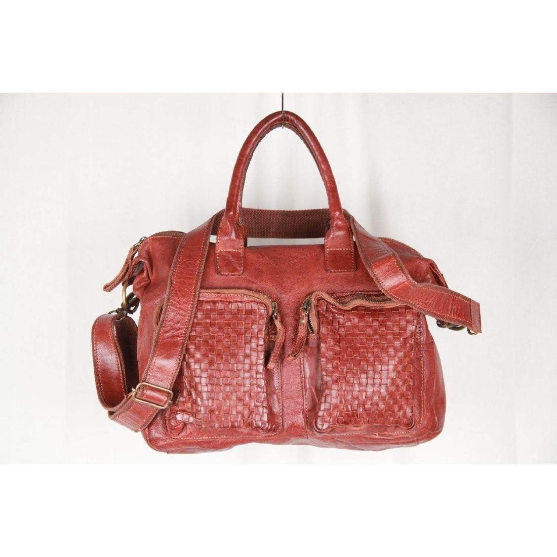 COWBOYSBAG Brown Leather THE BAG Satchel with WOVEN - 2