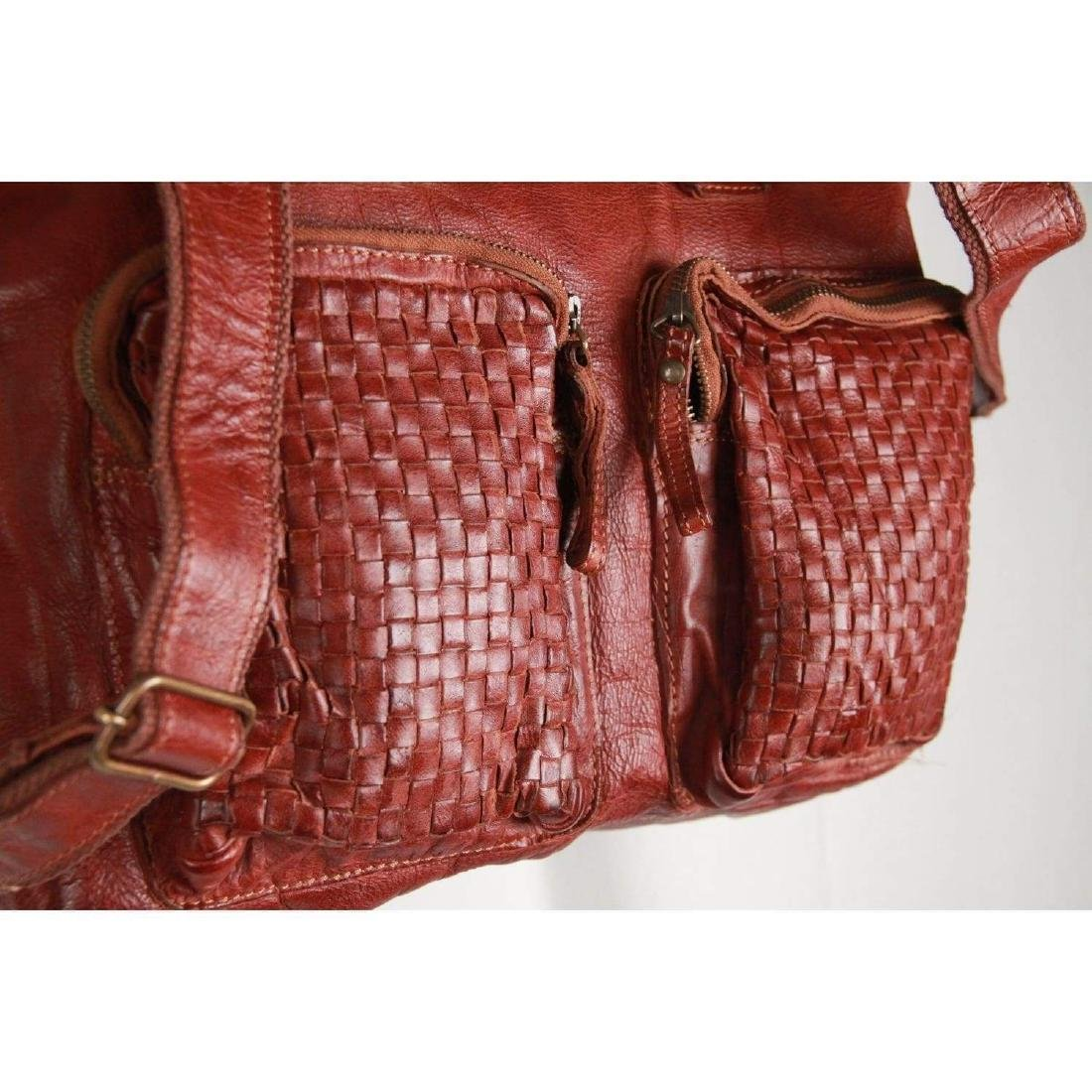 COWBOYSBAG Brown Leather THE BAG Satchel with WOVEN - 5