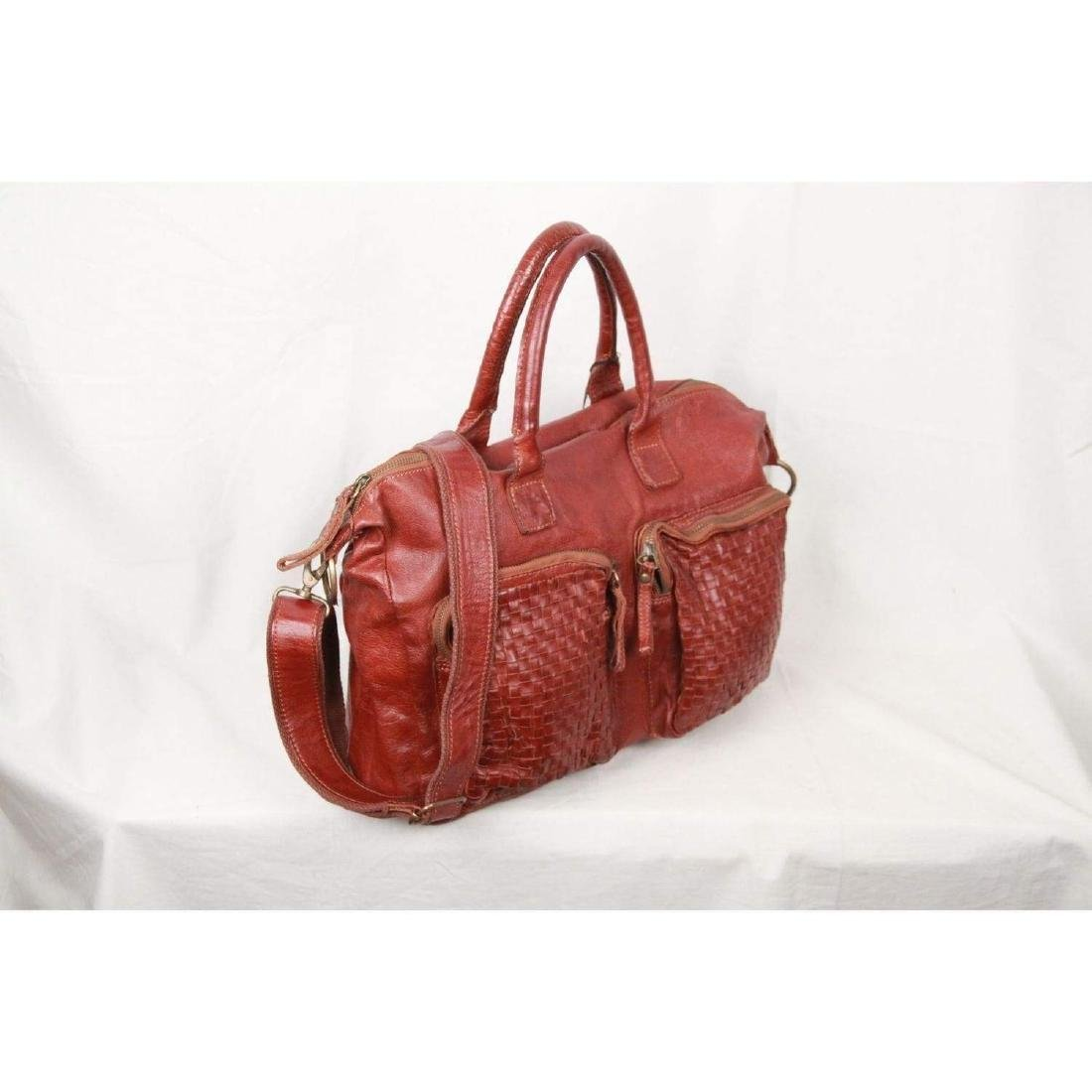 COWBOYSBAG Brown Leather THE BAG Satchel with WOVEN - 7