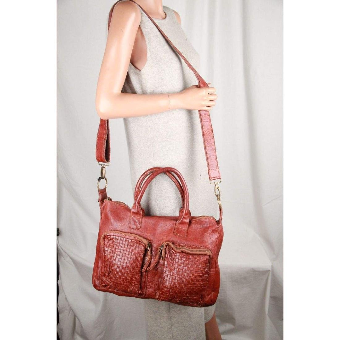 COWBOYSBAG Brown Leather THE BAG Satchel with WOVEN - 8