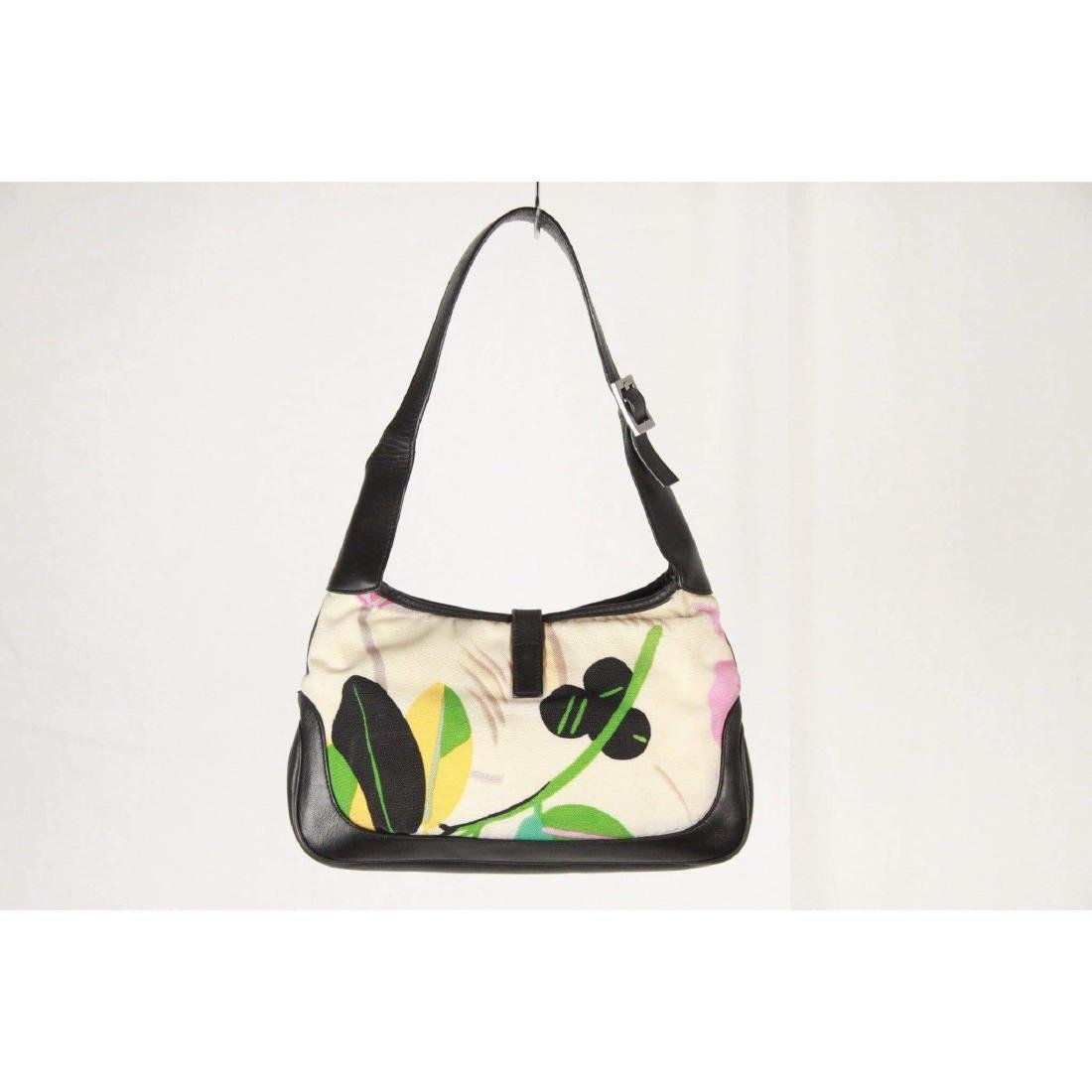 GUCCI Floral Canvas & Black Leather HOBO JACKIE O - 3