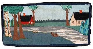 Handmade vintage American hooked rug 1.5' x 3' ( 47cm x