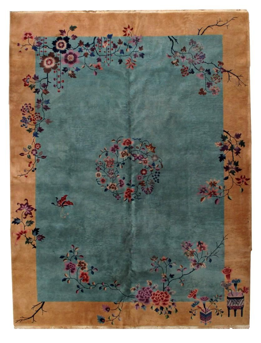 Hand made antique art deco Chinese rug 8.10' x 11.6' (
