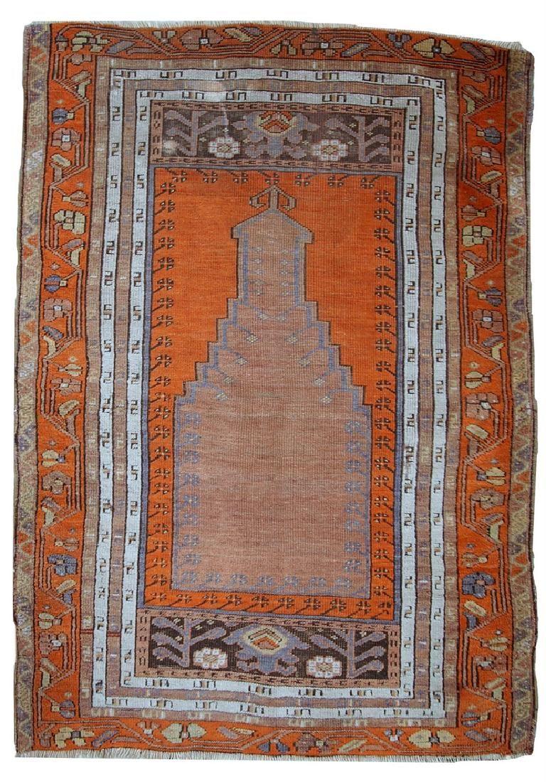 Hand made antique Turkish Anatolian prayer rug 3.3' x