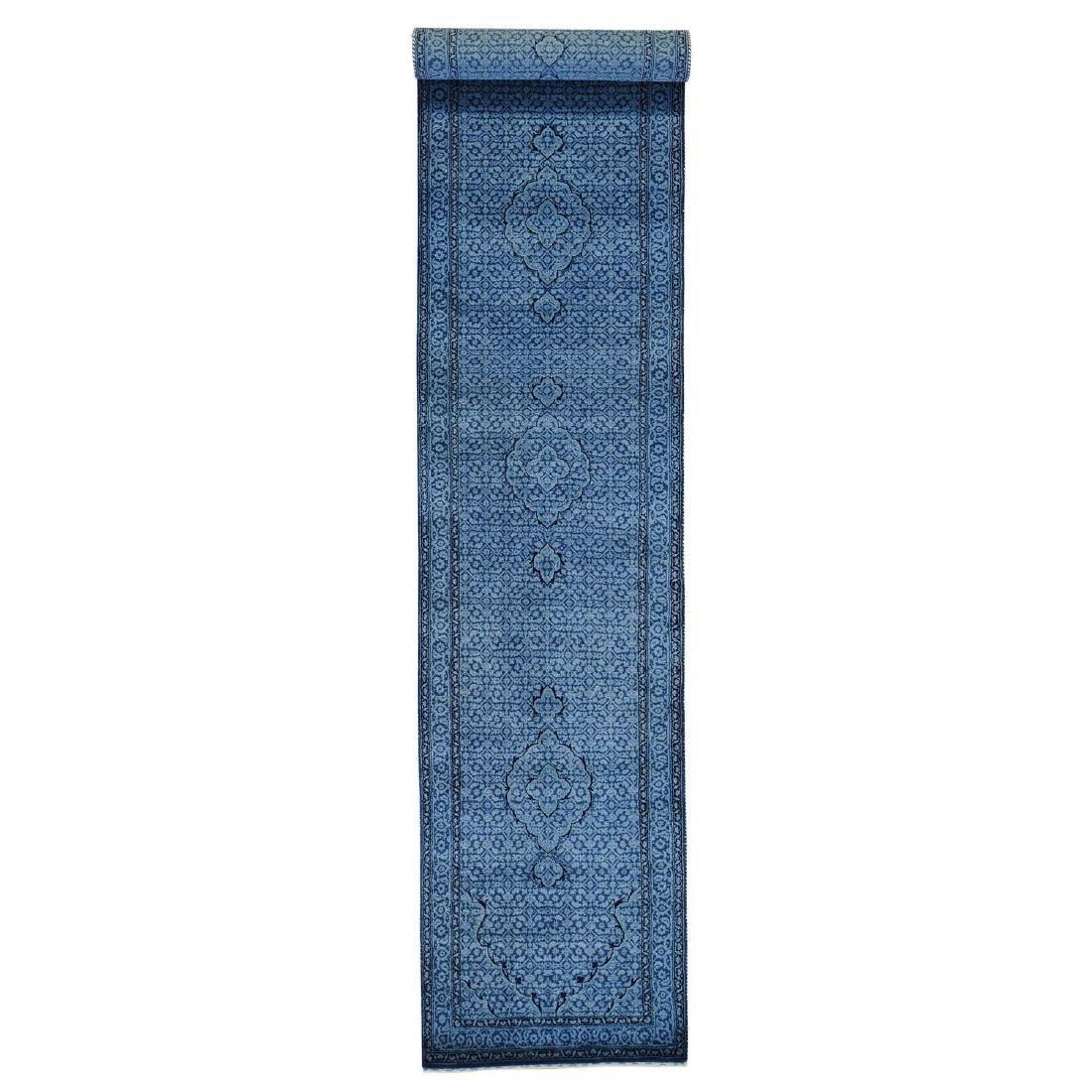 Wool and Silk Tabriz Mahi Runner Oriental Rug Handmade