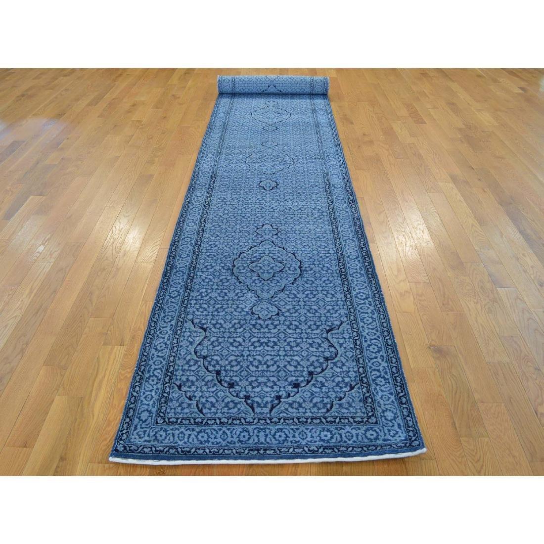 Wool and Silk Tabriz Mahi Runner Oriental Rug Handmade - 2