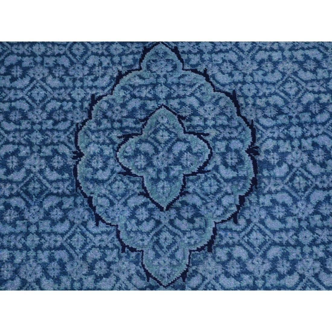 Wool and Silk Tabriz Mahi Runner Oriental Rug Handmade - 4