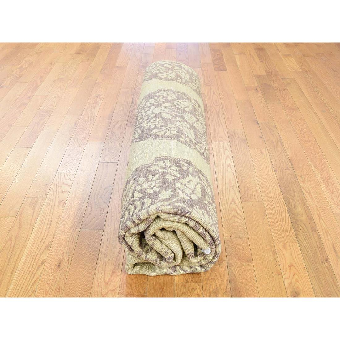 Pure Wool Peshawar with Mughal Design Hand Knotted Rug - 10