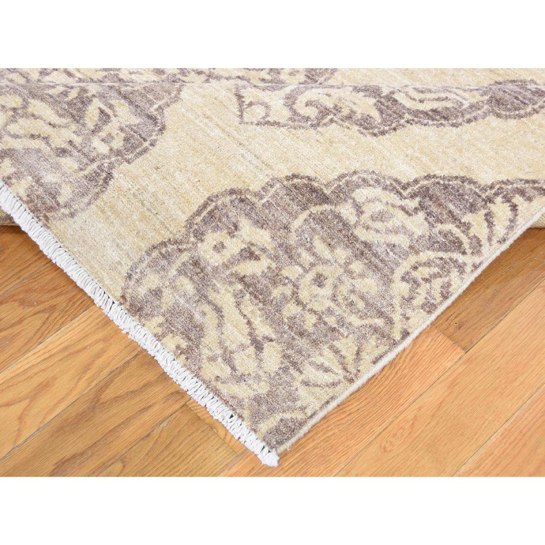 Pure Wool Peshawar with Mughal Design Hand Knotted Rug - 7