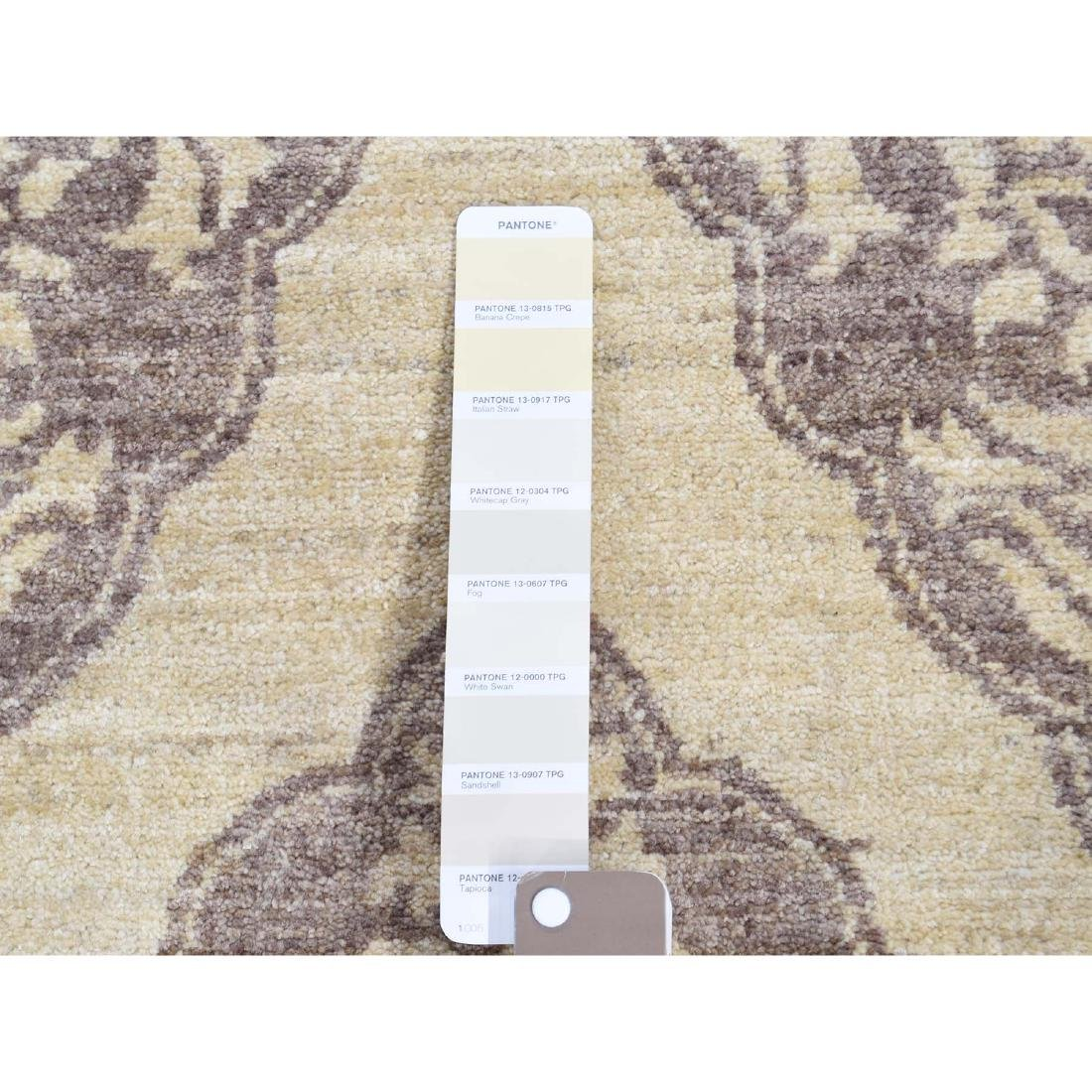 Pure Wool Peshawar with Mughal Design Hand Knotted Rug - 8