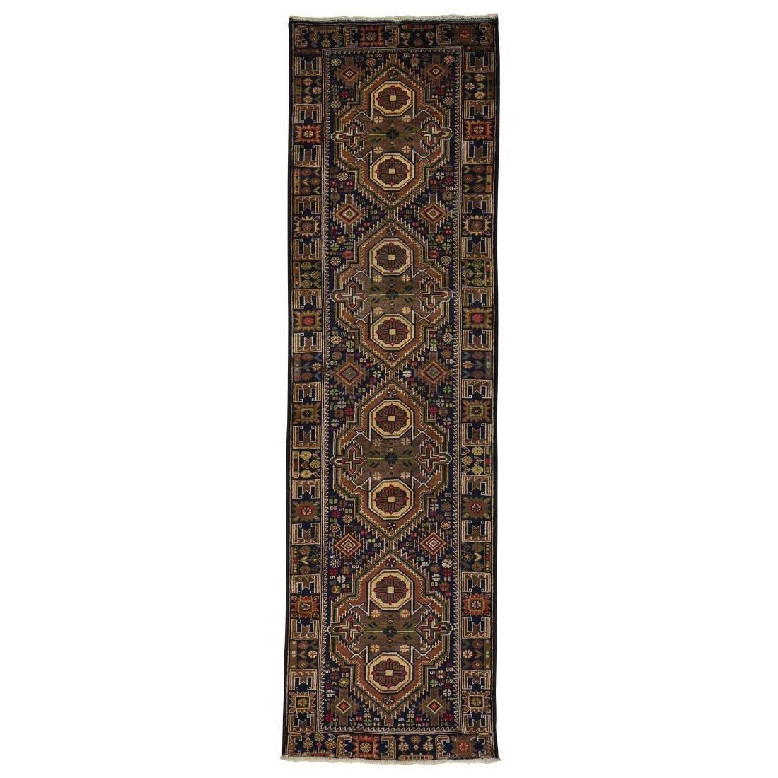 Runner Navy Blue Afghan Baluch Handmade Oriental Rug