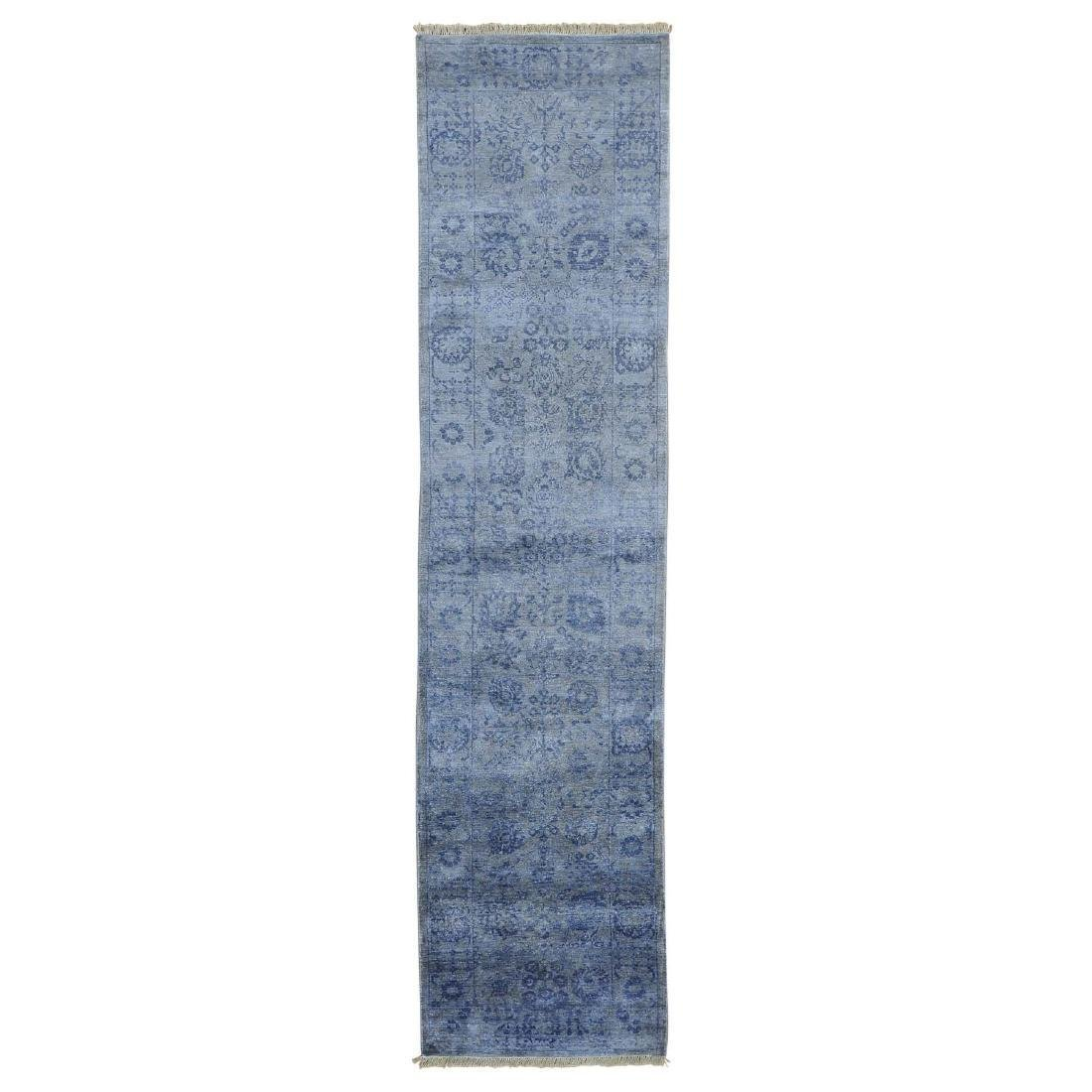 Runner Wool and Silk Tone on Tone Tabriz Handmade Rug