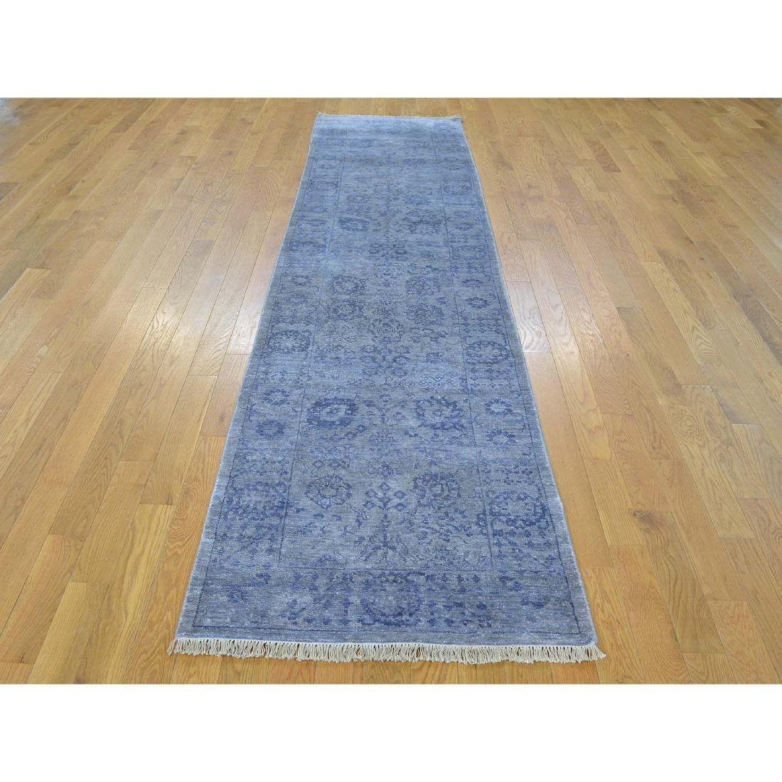 Runner Wool and Silk Tone on Tone Tabriz Handmade Rug - 2