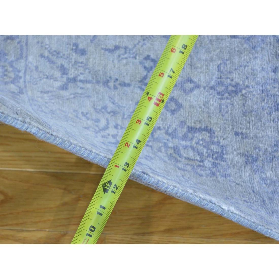 Runner Wool and Silk Tone on Tone Tabriz Handmade Rug - 3