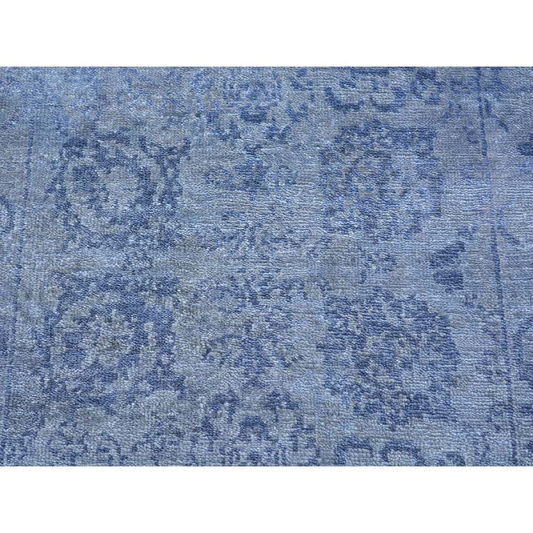 Runner Wool and Silk Tone on Tone Tabriz Handmade Rug - 4