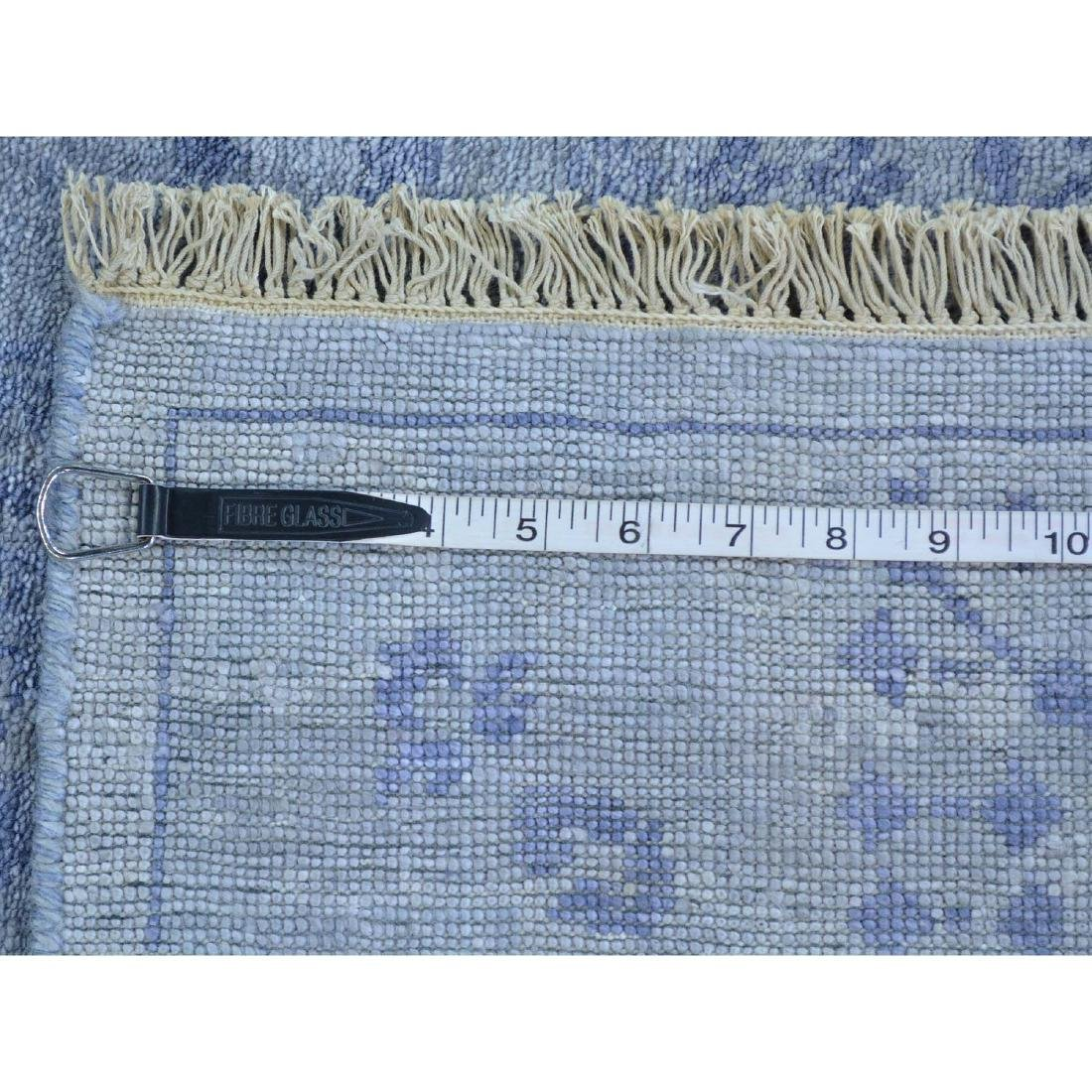 Runner Wool and Silk Tone on Tone Tabriz Handmade Rug - 5