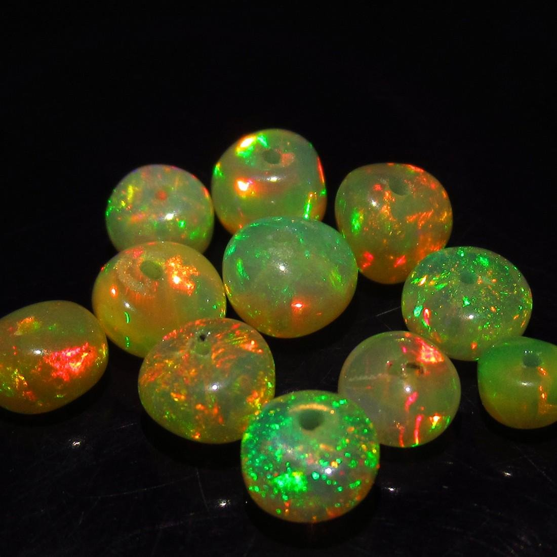 4.26 Ct Genuine 11 Drilled Round Fire Opal Beads