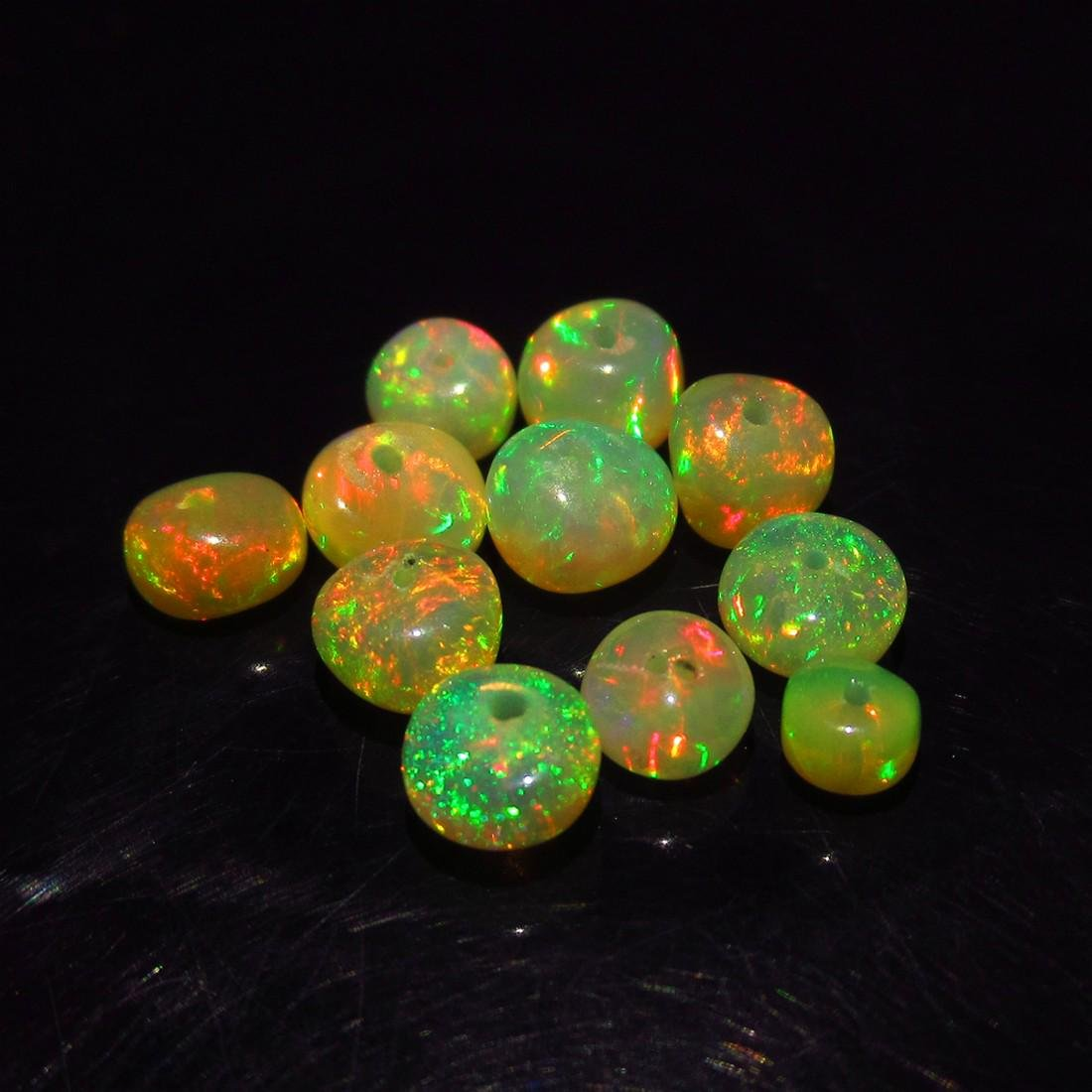 4.26 Ct Genuine 11 Drilled Round Fire Opal Beads - 2
