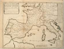 1702 deFer Map of Spain Portugal France and Italy