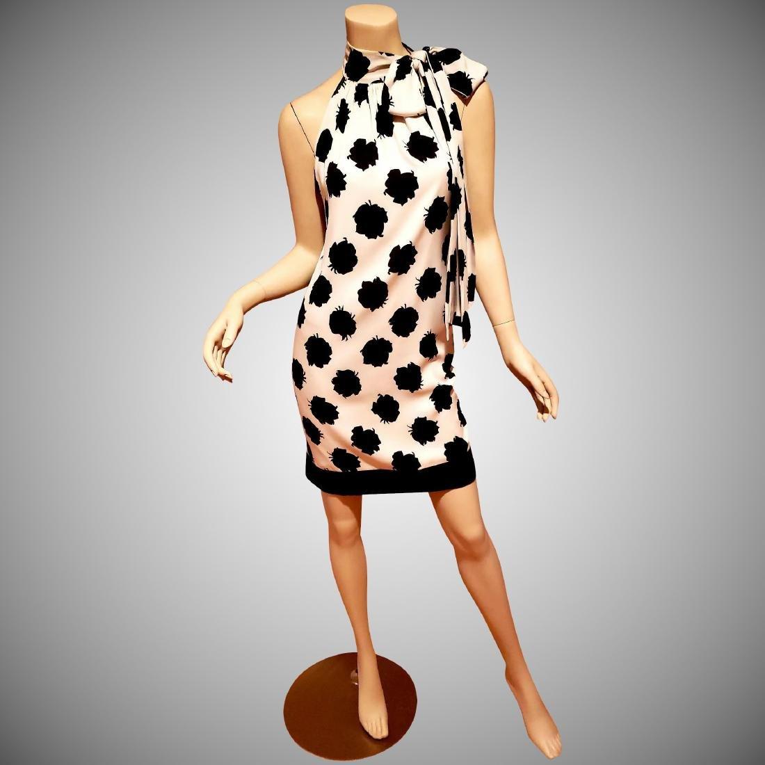 Vtg Diane von Furstenberg crepe floral shift dress bow