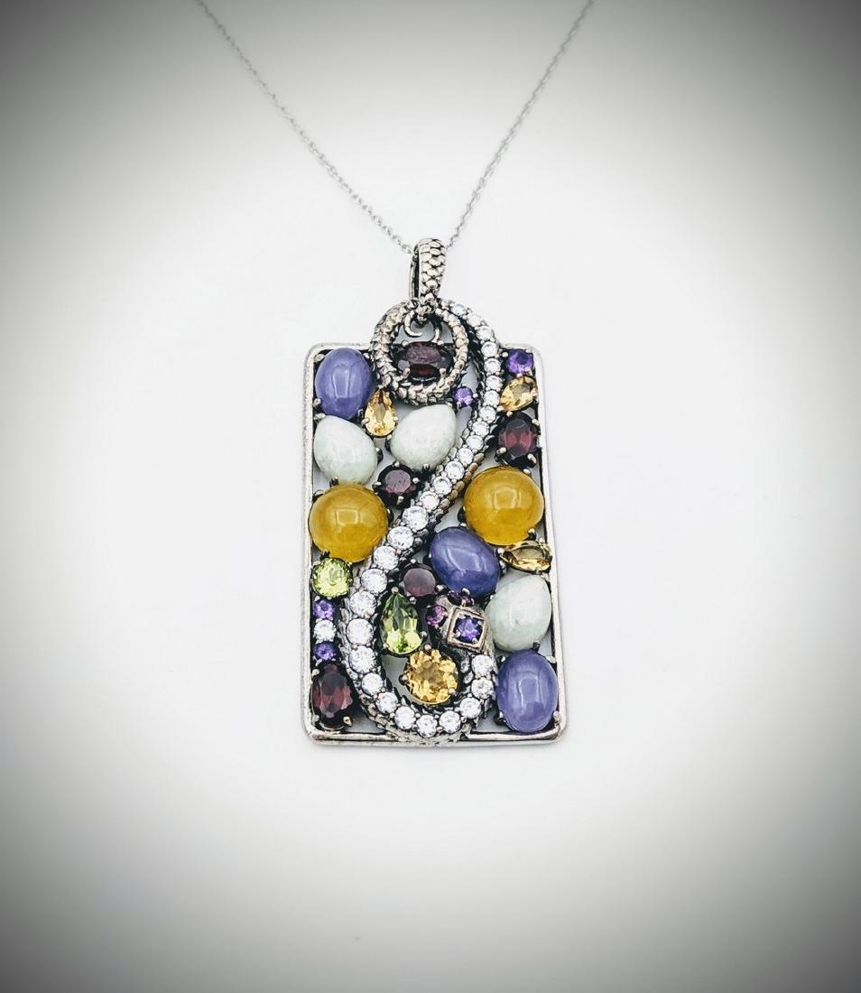 Necklace & Snake Pendant w Jade, Yellow & Violet Jade,