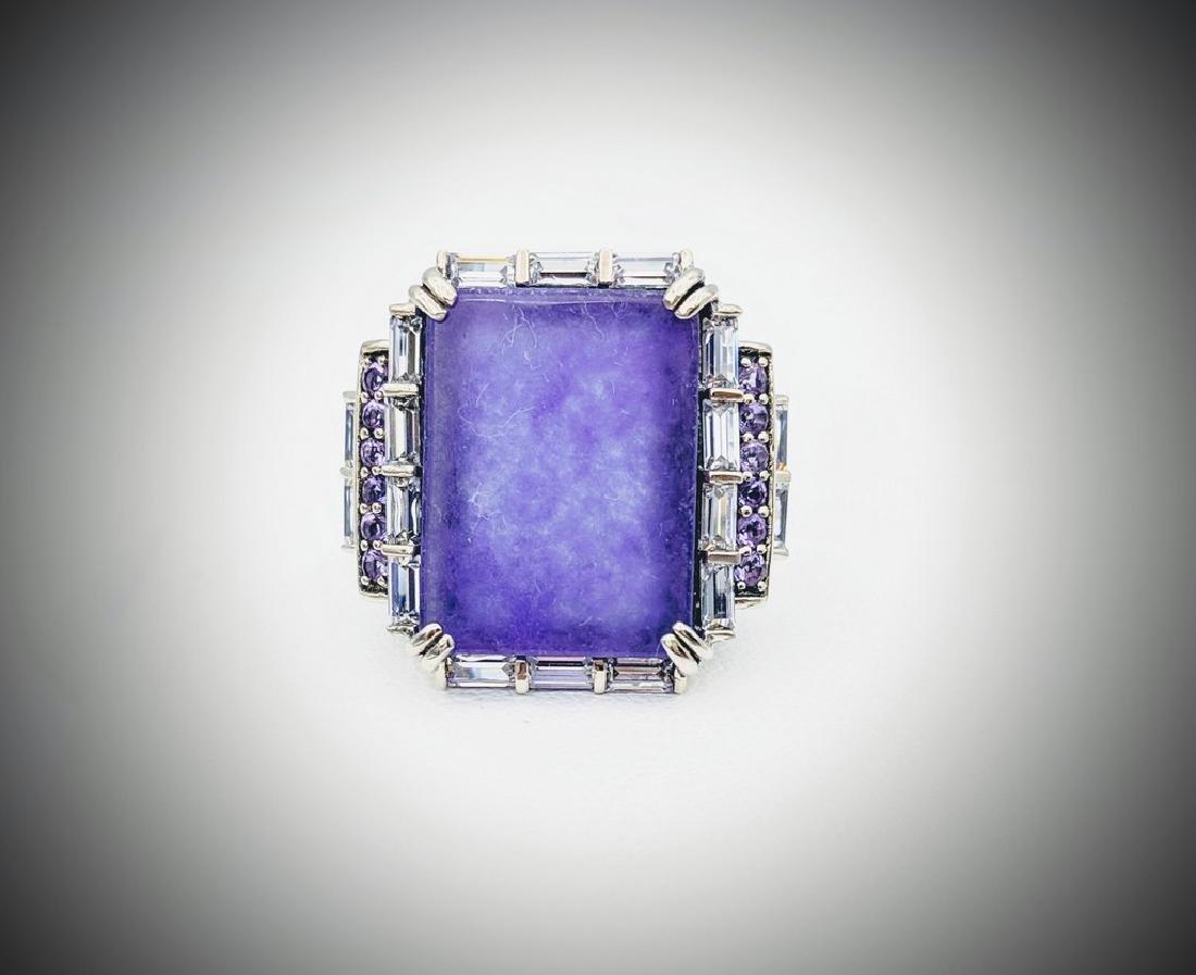 Sterling Silver Sz 7 Cocktail Ring w Violet Jade,